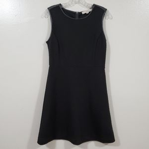 LOFT Quilted Faux Leather Sleeveless Black Dress 2
